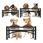 Elevated Raised Dog Pet Feeder Double Bowl Food Water Stand Tray Stainless Steel