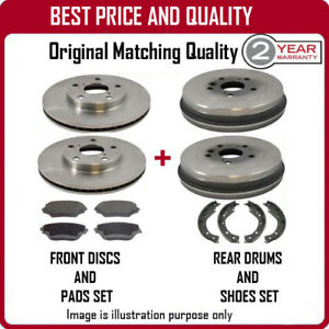 FRONT BRAKE DISCS & PADS AND REAR DRUMS & SHOES FOR DAEWOO LANOS 1.4 9/1997-12/2