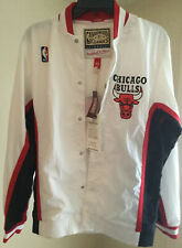 Mitchell And Ness Mens NBA Chicago Bulls Warm Up Jacket White Size Small Vintage