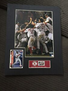 Red Sox USPS Matted WS 2004 Photo w Manny Ramirez Card & Massachusetts Stamp