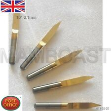 5 x Titanium Coated Carbide PCB Engraving CNC Bit Router Tool 10 Degree 0.1mm