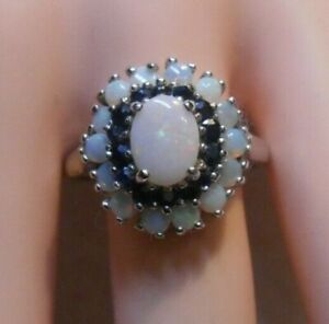 Vintage~Genuine Opal & Genuine Sapphires Sterling Silver Cocktail Ring Sz 9.25