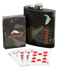 Simms Camp Gift Pack - 7oz Stainless Flask & Deck of Cards -Free US Shipping