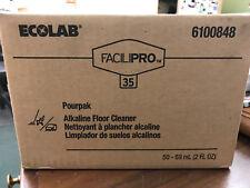 (50) Ecolab 6100848 Facilipro 35 Pourpak Alkaline Floor Cleaner 2 oz each