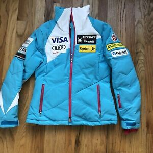 Women's Spyder US Olympic World Cup Ski Team Down Insulated Teal Jacket Sz 10
