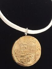"Gold Doubloon Coin WC36 Gold Fine English Pewter On a 18"" White Cord Necklace"