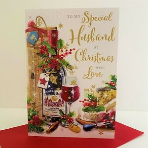 Jonny Javelin Special Husband Christmas Card Red Wine Cheese/XM013