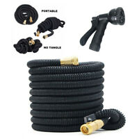 50ft Latex Garden Water Hose Expandable Lightweight Heavy Duty Flexible Black