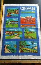 Vtg irish linen tea towel Girvan England city landmarks map