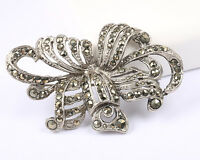 Stunning Silver Tone Brooch, Vintage 1940s, with Marcasite Stones