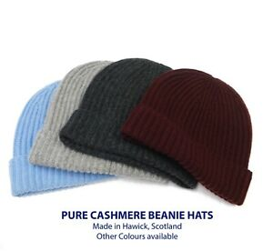 Pure Cashmere Ribbed Beanie Hats - Knitted in Hawick, Scotland
