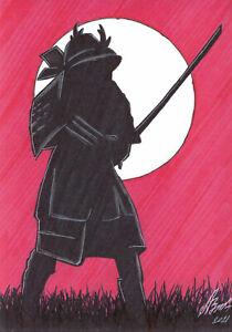 original drawing A5 113LV samovar Art marker knight warrior samurai Signed 2021