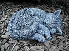 Steinfigur eingerollte Katze   Frostfest Steinguss Garten Deko Haustier