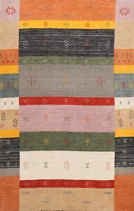 Contemporary Abstract Gabbeh Oriental Area Rug Hand-knotted Wool Carpet 5x8 New