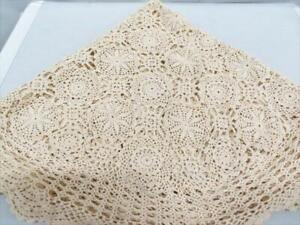 """Beige 48"""" Crocheted Round Tablecloth"""