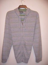 "MENS ""RED HERRING"" L/S GREY/GREEN STRIPED COTTON MIX HOODED TOP SIZE X LARGE"