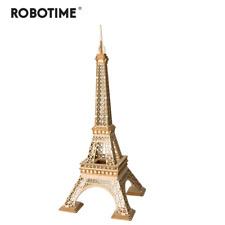 DIY Wooden Eiffel Tower Puzzle Game Paris France 3D Mini Model Kit Toy Decor