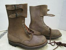 French Indo China Leather Two Buckle Combat Boots Ww2 Type Size 7 Airborne Jump