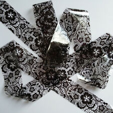 BLACK KNITTED FLOWER LACE Nail Art Foil Decoration Wrap Transfer
