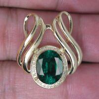 585er Gelbgold 1,35Kt Natürlich Grün Smaragd EGL Zertifiziert Diamant Anhänge