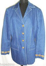 Escada Vintage Blue Jacket Embroidered Gold Elephants 10 40 HapaChico Couture
