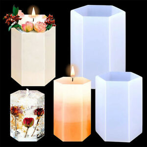 Hexagon Cylinder Silicone Candle Mold 3D Art DIY Making Soap Wax Resin Mould 1pc