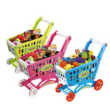 Kids Childrens Shopping Trolley Cart Role Play Set Toy With Plastic Fruit Food A