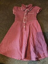 GIRLS 6-7 7 YEARS RED SCHOOL SUMMER GINGHAM DRESS TU S/N119