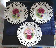 "3 Vintage Lefton China Plates, Hand Painted, Lattice Edge, Roses, 8-1/2"" 6350Fl"