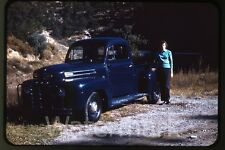 1960s kodachrome photo slide Lady standing by1950s  Ford Truck