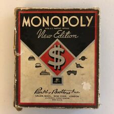 RARE Vintage 1936 Monopoly New Edition BROWN BOX - Partial Game