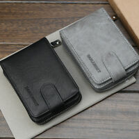 Men's Wallet PU Leather Bifold ID Credit Card Holder Zipper Thin Pocket Purse