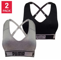 New Women's Puma Seamless Sports Bra 2 Pack Gray Black Medium Large XL Free Ship