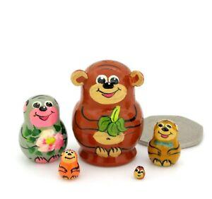 MONKEY Matryoshka Nesting Russian Dolls Miniature Babushka Tiny Doll's House 5