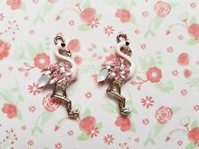 2pcs x Flamingo Rhinestones Enamel Silver Alloy CHARM Pendants DIY Jewellery
