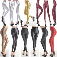 Women's Clothing Shiny Leather Slim Long Leggings Winter Warm High Waist Pants