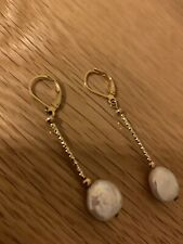 14k Not 9ct Pearl Drop Earrings With Leverback Fittings