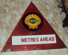 OLD 1940 VERYRARE VINTAGE BURMAH-SHELL FUEL STATION PORCELAIN SIGN DIRECTION SET