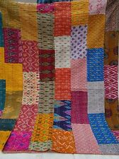 Silk Handmade Patchwork Ikat Kantha Quilt  Blanket Throw Gudari King Size