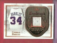 CHARLES BARKLEY GAME USED JERSEY CARD #d 9/20 2018 LEAF IN THE GAME ENSHRINED