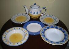 Stoneware Chefs Club Set – Teapot, Bowls & Plates – 7 piece