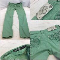 Miss Me Jeans Sz 27 Green Cotton Lycra Skinny No Flaws YGI E9-29