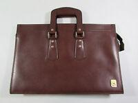 Vintage Airway Brown Leather Portfolio Zip Briefcase Attache Travel Case