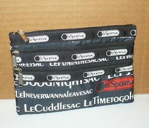 LE SPORT SAC Cosmetic Pouch w/ 3 Zippers ~ Hard to find Print!
