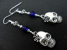 Crystal Bead Dangly Skull Flower Earrings. A Pair Tibetan Silver & Blue