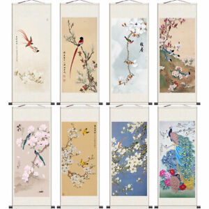 Asian Silk Scrolls Wall Picture Calligraphy Hanging Artwork Feng Shui Home Decor