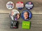 Set of 7 George W Bush Laura Bush Dick Cheney President Button Collection