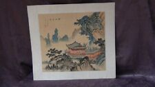 "ANTIQUE 19C CHINESE ORIGINAL WATERCOLOR ON SILK PAINTING""LANDSCAPE SCENE"" SIGNED"