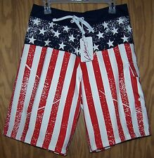 Distressed USA flag board shorts American swimming trunks - size XXL