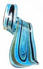 P1459 Aqua Blue Flat Twist w Golden Sparkles 70mm Lampwork Glass Dangle Pendant